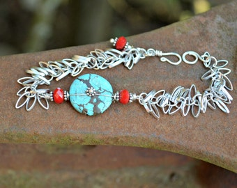 Turquoise bracelet with silver shimmy chain blue and red bracelet