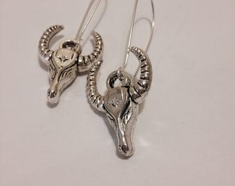 Ram's Head Earrings, Bull's Head, Cow's Head, silver Tone or Antiqued Brass Tone