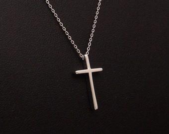 Silver Cross Necklace, Cross Pendant, Delicate Fine Chain, Simple Layering Necklace