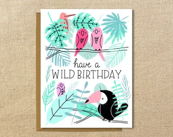 Tropical Birds Birthday Card | A2 Illustrated Greeting Card