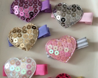 Pick Three... Sparkle Heart Appliqué Hair Clips - Valentines Day Barrettes - Sequence and Bows (Set of 3)