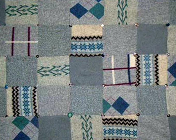 """My """"Kilt Gray"""" Wool Sweater Quilt — I can make one similar for you!"""