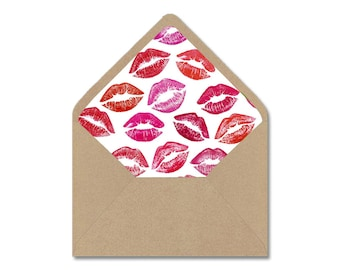 DIY Printable Envelope Liner Template - Sealed With a Kiss Valentine's Day Lips - Instant Digital Download - Multiple Sizes - A2, A7, 4 Bar