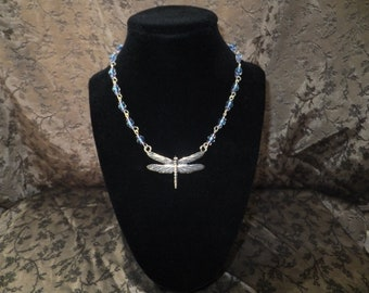 Purple and Blue Dragonfly Necklace