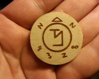 Wooden Etched Supernatural Angel Banishing Sigil Pin or Magnet Gift