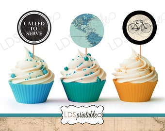 LDS Missionary Called to Serve Missionary Cupcake Toppers