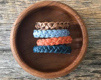 Braided leather bracelet - Bronze, Ice Blue, Persimmon, Deep Waters
