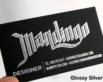 400 Business Cards - black 14PT or 16 PT matte stock - silver matte or silver glossy foil