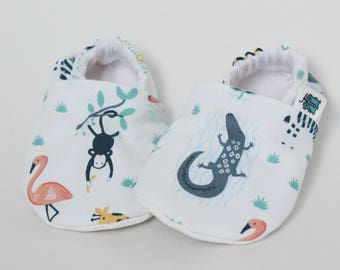 Children slippers, Jungle animals, Monkey, Crocodile, Elephant, Giraffe, Crib shoes, Flannel, Cotton, Soft soles, Moccasins, Toddler, Baby