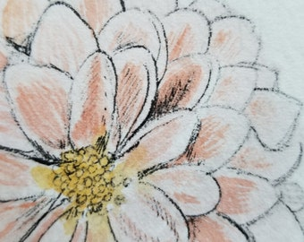dahlia original watercolor and ink floral painting