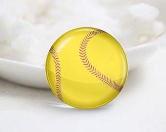 Softball Photo Glass Cabochons (P3886)