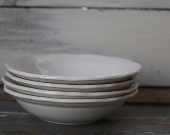Ironstone Bowls / Set of 4 Farmhouse Ironstone Soup Bowls / Federalist Ironstone / Ironstone Soup Bowl Set 1970 / Instant Collection 11124
