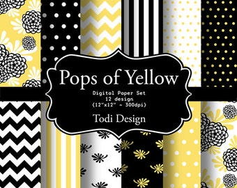 Pops of Yellow- INSTANT DOWNLOAD Digital Paper Set