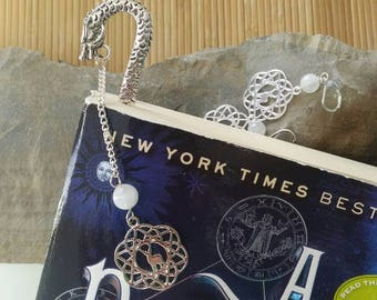 Diana Bishop Bookmark, Moonstone and Silver Firedrake Dragon Diana Bookmark, ADOW Bookmark, All Souls Trilogy Bookmark, Dragon Bookmark