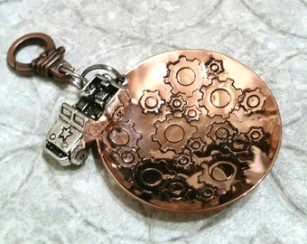 Mud Sweat and Gears Jeep hand stamped copper charm key fob keychain accessory OIIIIIIIO