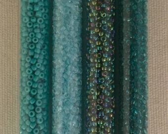 Japanese Glass Seed Beads, Size 11, 40 Grams, 11-021, 11-237,11-740, 11-9288