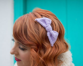 Purple Knitted Hair Bow