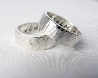 Engravable Sterling Silver Wedding Band, Custom Sterling Silver Band, Personalized Mens Wedding Band, Tree Bark Hammered Silver Ring