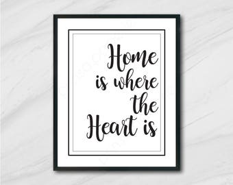 Home is where the heart is // Digital Art Print, Instant Download