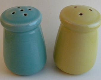 Mid Century Modern Blue and Yellow Salt & Pepper Shakers