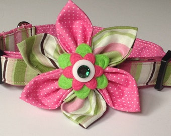 Pink Green Striped Flower Collar for Girl Dogs and Cats