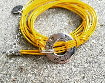 Wrap Sterling Silver Yellow Leather Bracelet
