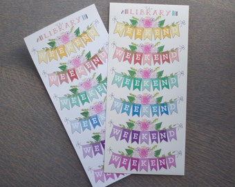 6 Floral Multi-Coloured Weekend Banner Planner Stickers, perfect for Erin Condren, Plum paper, happy planner, Inkwell Press