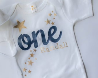Twinkle Little Star in Gold Metallic and Navy Blue First Birthday Bodysuit for Little Boy