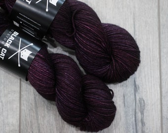 DK weight merino yarn 100% Superwash Merino Sweater weight yarn. Double Knit Weight yarn. Void Talon. Semi-Solid purple yarn. Tonal yarn