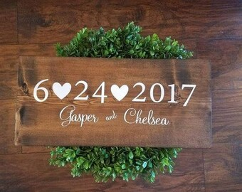 Wedding Date Wooden Sign, Personalized