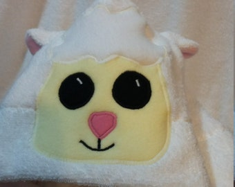 White Lamb Hooded Towel