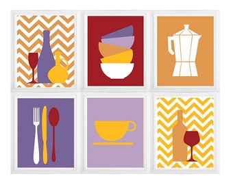 Kitchen wine decor,kitchen wine print, wine poster-Lavender Maroon Set of (6) Prints Personalize Colors Utensils and Bowls with Chevrons
