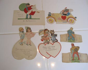 Lot Of 4 Vintage Valentines + Stand Up Figures Great condition Car Mailman