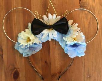 Wire mouse ears, Alice in wonderland ears, wire ear headband, flower headband, minnie ears, flower crown