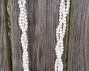 Vintage strands glass faux pearls beads necklace multi strands
