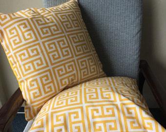Yellow Greek Key Outdoor Cushion 18x18inch 45x45cm Cushion Throw Cover