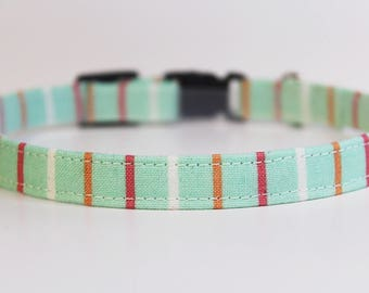Mint Cat Collar Stripes | Breakaway Cat Collar |Handmade | Adjustable | Small Dog Collar | Pet Collar | Safety Cat Collar| Pet Gift