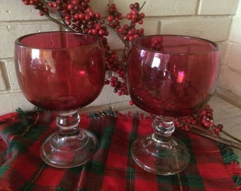Vintage Two X  Large  Wine Glasses, Clear / Cranberry. Drink and Barware, wine glasses, Home and Living, Kitchen and Dining,