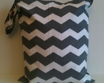 Large Wet Bag, XL Wet Bag, Waterproof Wet Bag, Cloth Diaper Bag, Wet Bag for Cloth Diapers, Diaper Bag,  Gray Chevron