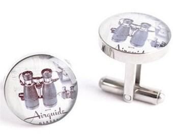 Binoculars Cufflinks - retro americana inspired mens jewelry, mens cuff link accessories, style # AM010