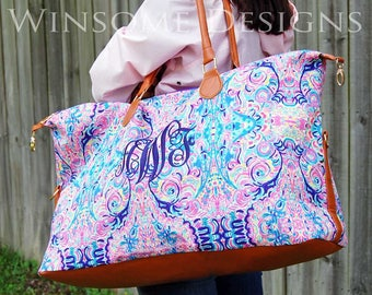 Preppy Weekender-Personalized Weekender-Monogram Duffle Bag-Monogram Luggage-Monogram Tote Bag-Weekender with Monogram-Large Travel Tote