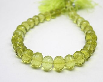 Sparkling Lemon Quartz | Faceted Twist Twisted Rondelles 12-9 mm | Lemon quartz faceted oval beads | Sold in set of 15 rondelle