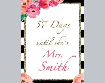 Bridal Shower Days Until Wedding Sign, Bridal Shower Sign, Days until Mrs Flower Bridal Shower Sign, Wedding Shower Stripe Sign, Printable