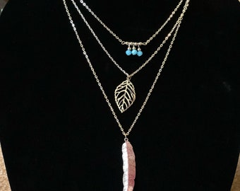 Silver Layering Necklace - Feather Charm - Blue Beads