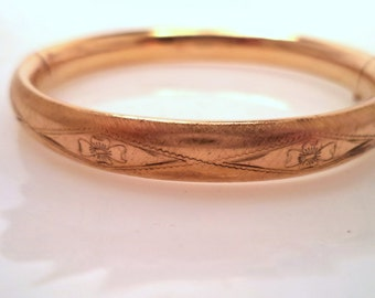 SALE Gold GF Hinged Bangle Bracelet by Carl Art 12K GF