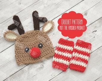 CROCHET PATTERN - Reindeer hat pattern, reindeer hat and leg warmers, baby reindeer hat, newborn christmas hat, reindeer hat