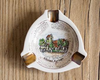 Vintage Porcelain Souvenir Ashtray with Swedish Bastad Church, Tobacciana Collectibles
