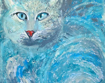 Abstract Painting, Original Painting, Cat, Home decor, Wall art, Blue, Turquoise, Animals, Acrylic painting, Feline, Canvas, Art, painting