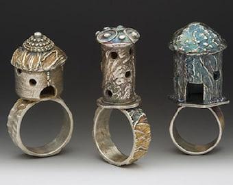 Miniature castle ring, silver artisan jewelry, eco friendly, hobbit house, harry potter, statement ring, Tour de France