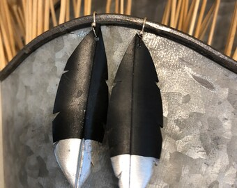 Silver dipped recycled bike tire earrings